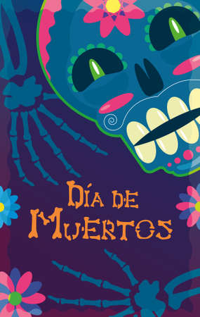 Skull flyer of the day of the dead mexico