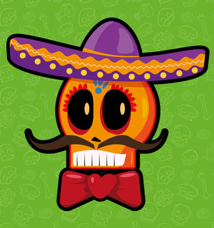 Skull wearing mexican charro hat day of the dead Vettoriali