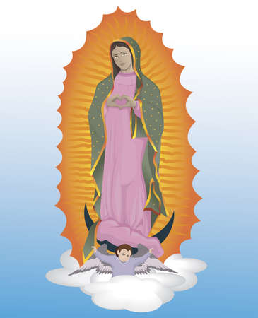 Virgin of Guadalupe hands of heart vector illustration