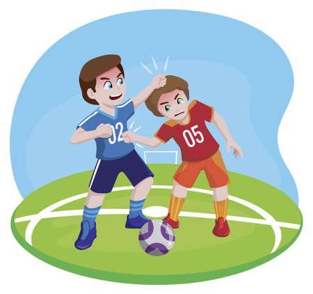 Boys fight in sports football Vettoriali