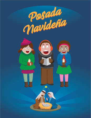 Posada and Christmas songs at the birth of the child God Vettoriali
