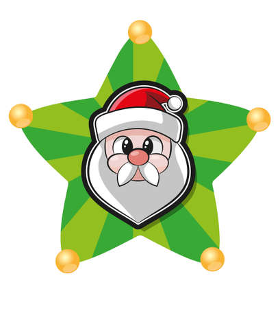 Christmas star with bell and santa's face