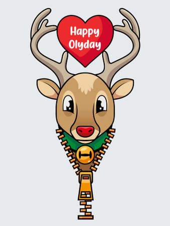 Rudolph the deer of Santa Claus with his red nose