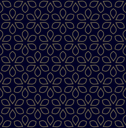 Seamless vector floral pattern. Geometric ornament with outline flowers. Can be used for textile, fabric, paper, web design, big surface. Illusztráció