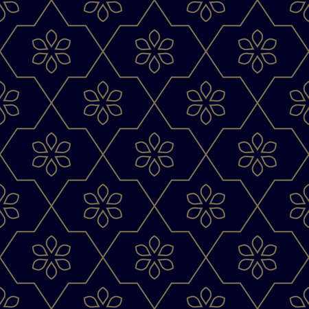 Geometric vector floral pattern. Seamless texture. Abstract background with outline flowers. Can be used for textile production, fabric, paper, web design. Illusztráció