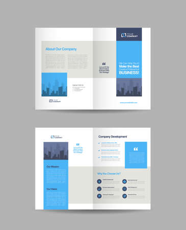 Business Bi-Fold Brochure Design | Booklet Design | Marketing and Financial Document Ilustracje wektorowe