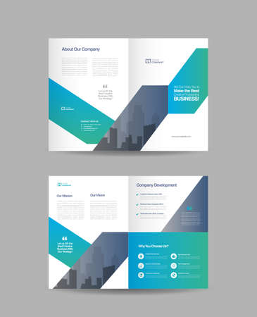 Business Bi-Fold Brochure Design | Booklet Design | Marketing and Financial Document Vettoriali