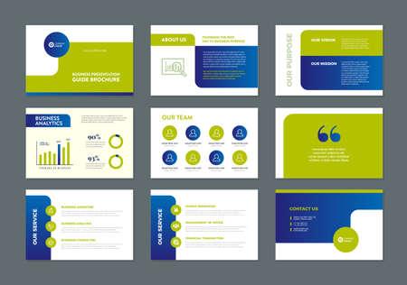 Conception de guide de brochure de présentation d'entreprise, modèle de diapositive, curseur de guide de vente
