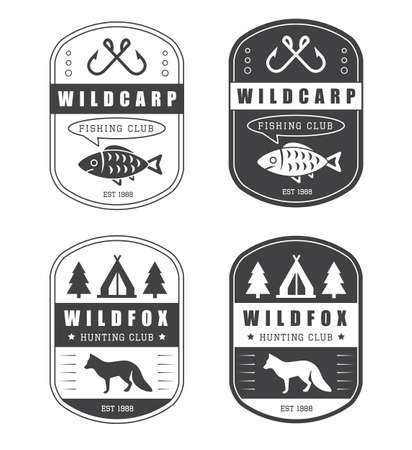 fly fisherman: Set of vintage hunting and fishing icon