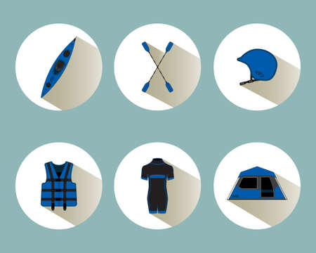 colo: Rafting set icons with shadows in blue colo Illustration