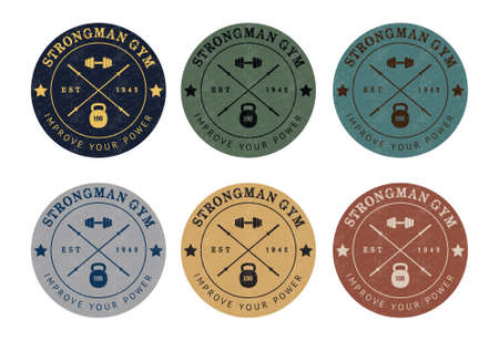 fitness workout: Gym icon color set in vintage style
