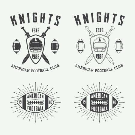 pelota rugby: Conjunto de rugby de época y las etiquetas de fútbol americano, emblemas y logotipo. Ilustración vectorial