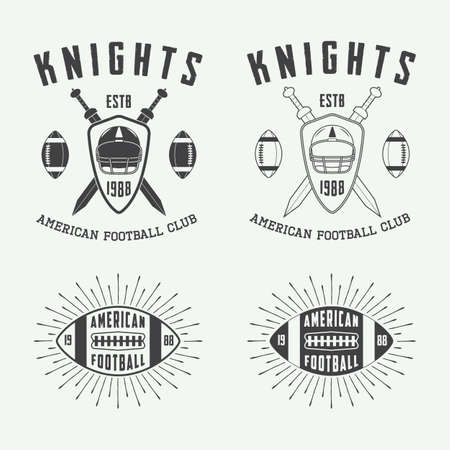 rugby: Set of vintage rugby and american football labels, emblems and logo. Vector illustration