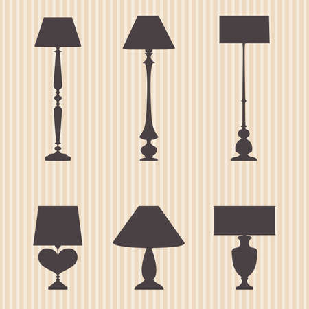 homely: A set of silhouettes of vector lamps, eps 10