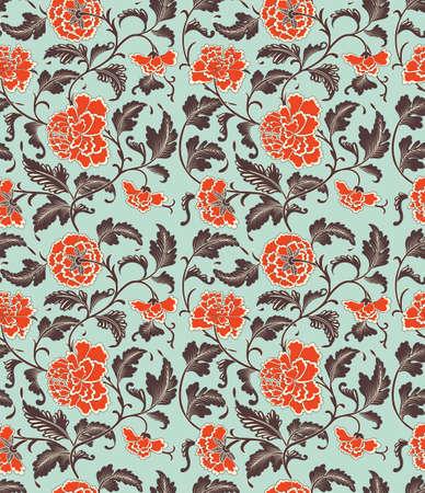 papel tapiz turquesa: Fondo chino con flores. Sin patrón, eps 10 Vectores
