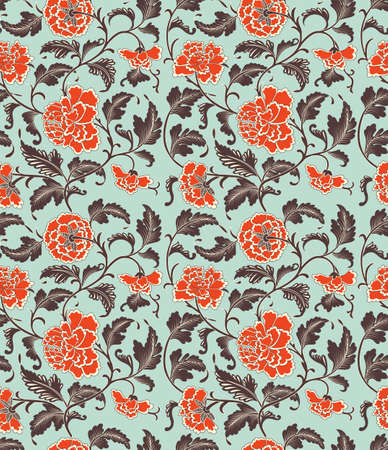 Chinese background with flowers. Seamless pattern, eps 10 Illustration
