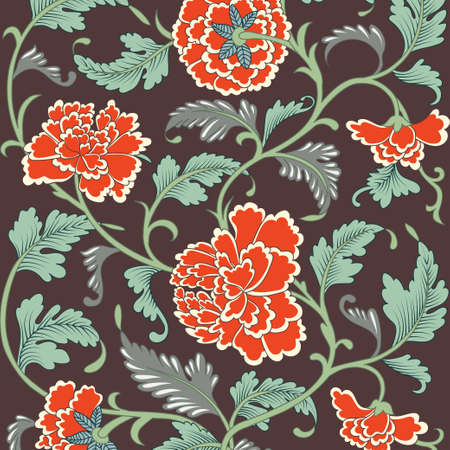 chinese border: Ornamental colored antique floral pattern Illustration