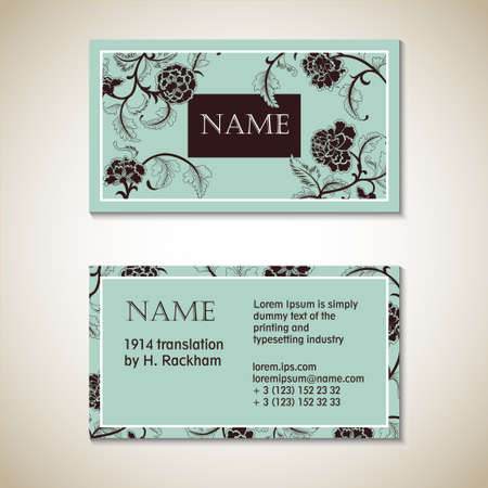 Vector floral visit card template, eps 10