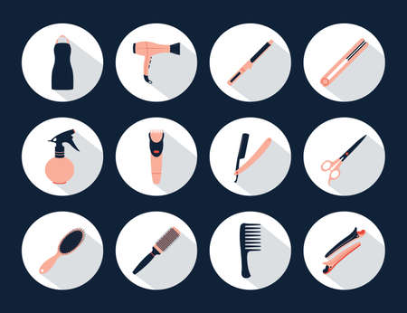 blue hair: Barber Shop icons vector set