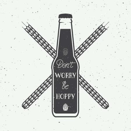 botellas de cerveza: Vector logotipo de la cerveza de la vendimia con letras de la mano de presupuesto en la motivaci�n de la diversi�n