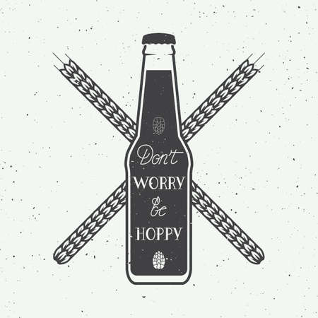 beer bottle: Vector vintage beer logo with hand lettering fun motivation quote