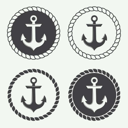 Set of anchors in vintage style. Vector illustration 向量圖像