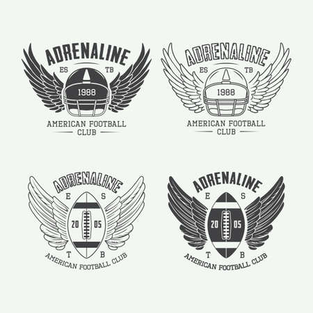 brave: Set of vintage rugby and american football labels, emblems and logo. Vector illustration