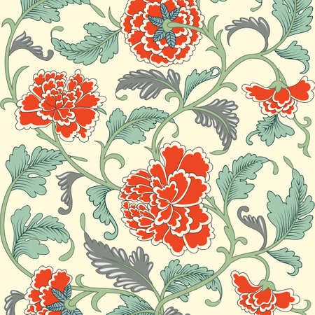 antique asian: Ornamental colored antique floral pattern Illustration