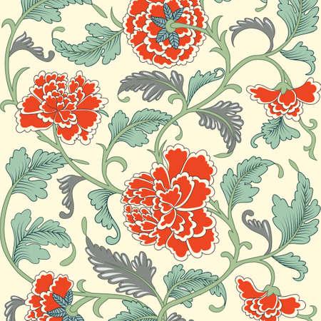 antik: Ornamental farbige antike Blumenmuster