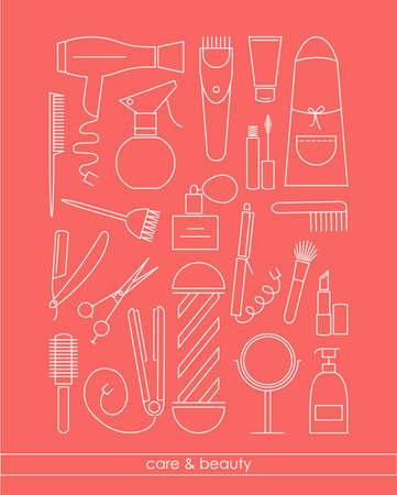 beautycare: BeautyCare line icons set for barber shop or beauty salon. Vector illustration