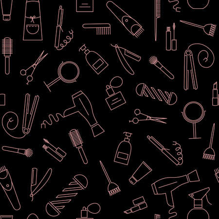 hair beauty: Beauty salon seamless pattern. Barber shop linear icons on black background