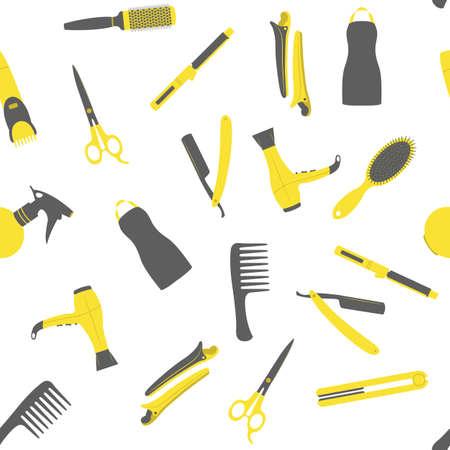 beauty shop: Barber shop seamless vector pattern. Beauty salon flat icons.