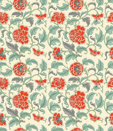 Chinese achtergrond met bloemen. Naadloos patroon.