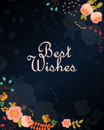 Best wishes vector card with flowers, eps 10 Illustration
