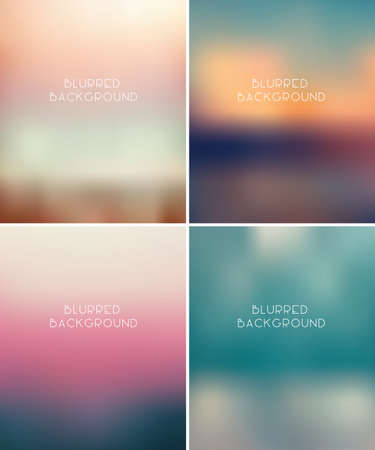 Set of fou blurred vector backgrounds, eps 10