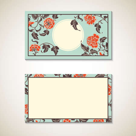 asian business: Vector asian floral business visit card template