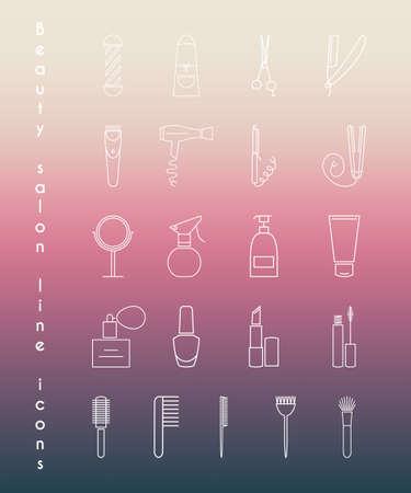peluquero: Iconos lineales CareBeauty para peluquer�a o sal�n de belleza en el fondo borroso. Ilustraci�n vectorial