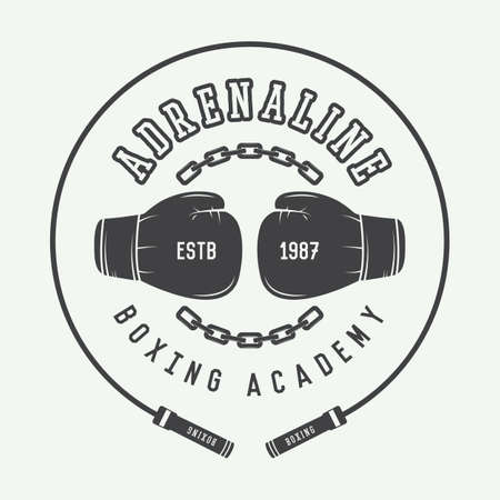 Boxing and martial arts  , badge or label in vintage style. Vector illustration
