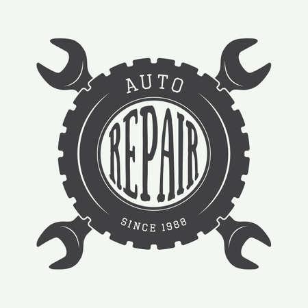 car mechanic: Vintage mechanic label, emblem and  . Vector illustration