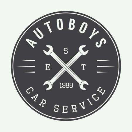 tire change: Vintage mechanic label, emblem   Vector illustration
