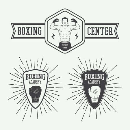 thai martial arts: Boxing and martial arts   badges and labels in vintage style. Vector illustration