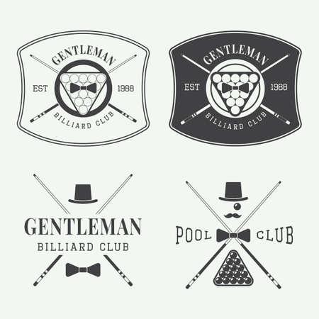 pool: Set of vintage vector billiard labels  Illustration