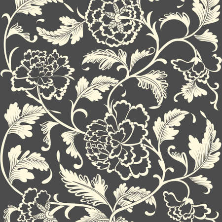 black pattern: Ornamental colored antique floral pattern. Vector illustration Illustration