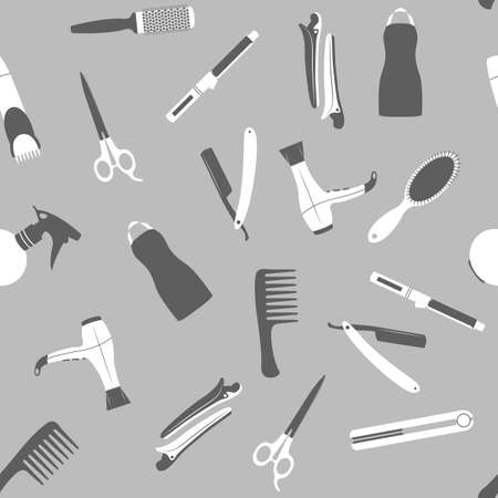 fashion shop: Gray barber shop seamless vector pattern. Beauty salon flat icons. Illustration