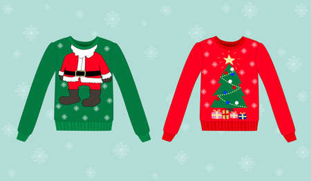 funny christmas: Christmas vector sweater on blue background with snowflakes