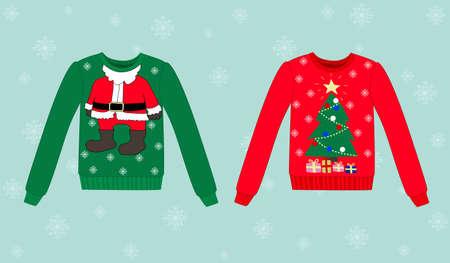 Kerst vector trui op een blauwe achtergrond met sneeuwvlokken