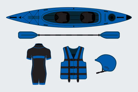 oar: Blue flat rafting set with kayak, helmet, paddle, sweam suit and life jacket Illustration