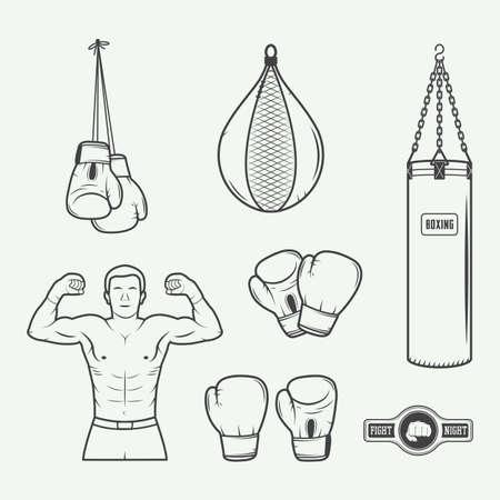 guantes de box: Boxeo y artes marciales insignias, etiquetas y elementos de diseño de estilo vintage. Ilustración vectorial