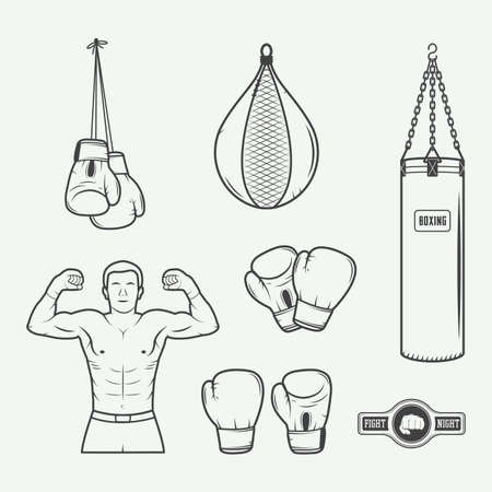 mixed martial arts: Boxing and martial arts  badges, labels and design elements in vintage style. Vector illustration