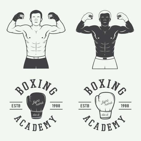 guantes de box: Boxeo y artes marciales insignias y etiquetas de estilo vintage. Ilustración vectorial